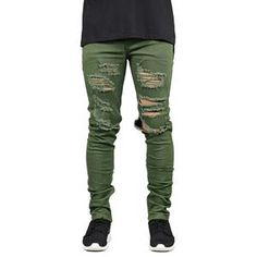 3beec45056cee7 Men Jeans Fashion Stretch Slim Fit Ripped Jeans Army Green Hole Jeans For  Men Regular price
