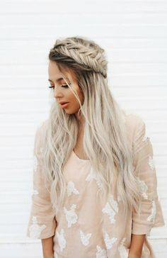 LOVE the idea of braided crowns. @kaylouisejenkins clipped in her custom toned Ash Blonde Luxy Hair extensions for extra length and volume to be able to create this hairstyle <3