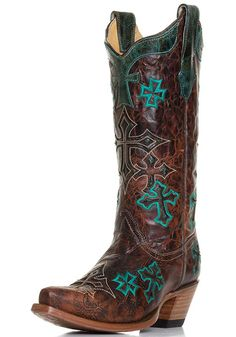 Corral Womens Marble Cross Embroidery Western Cowboy Boots - Whiskey $219.00