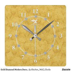 Gold Diamond Modern Decorated 2-c Wall Clock Sale https://www.zazzle.com/kitchen_wall_clocks/products?rf=238136051362953437