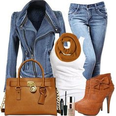 White Top + Blue Jeans Jacket + Blue Jeans + Brown Belt & Shoes & Bag