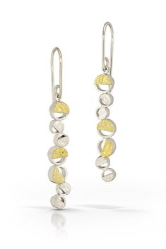 ea61b50d5 Handcrafted artisan drop earrings made of 22K gold bimetal and sterling  silver. Designed and crafted