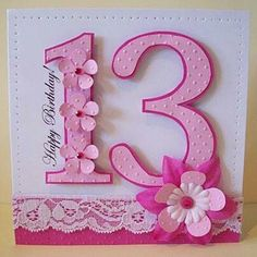 Pretty Pink Birthday by ZoeR - Cards and Paper Crafts at Splitcoaststampers Teen Girl Birthday, Girl Birthday Cards, Bday Cards, Handmade Birthday Cards, Greeting Cards Handmade, Birthday Wishes, 13th Birthday, Happy Birthday Teenager, Female Birthday Cards