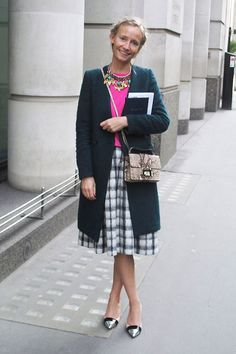 plaid black and white skirt and pop of pink