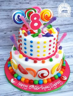 Candy themed birthday cake complete with sugar fruit candies, gumdrops, gum balls and lollipops Themed Birthday Cakes, Gum Drops, Sugar, Candy, Lollipops, Fruit, Balls, Desserts, Food