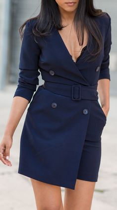 Tailored wrap romper - needs a white top and trousers, but it's so pretty, regardless. Blazer Dress, Jacket Dress, Shirt Dress, Cool Outfits, Summer Outfits, Stylish Clothes For Women, Business Outfits, Everyday Fashion, Dress To Impress