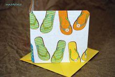 Blank Mini Card Set of 10 Summery Flip Flop Design by mad4plaid, $5.00