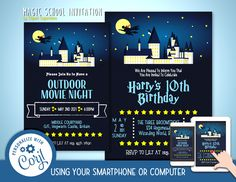 Magic School Castle Invitation Font Editable Template Instant Download Digital File by clipartsuperstore on Etsy Digital Stamps, Digital Scrapbooking, Silhouette Cameo Free, Edit Font, Invitation Fonts, Programing Software, Star Magic, Party Items, Castle