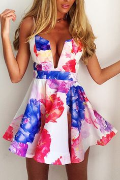 Floral Print Spaghetti Strap A Line Mini Dress
