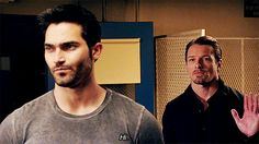 This..not an awkward situation at all. Derek and Peter Hale - Teen Wolf *gif*