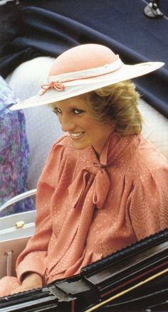 June 20, 1984: Princess Diana rides in an open carriage to Royal Ascot.
