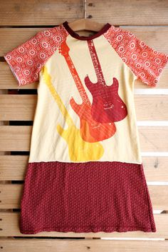 Upcycled Short-sleeve T-shirt Dress - Guitars Size 7