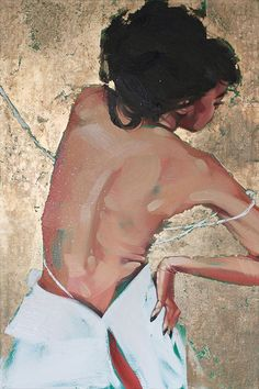 """Norn 6"" - Jonny Ruzzo, acrylic, oil, aluminum, & diamond dust on canvas {contemporary figurative #impressionist artist female discreet-semi nude standing posterior back woman painting #loveart} Strapless !!"