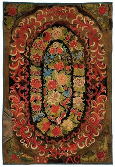 210: 1876 floral hooked rug, : Lot 210