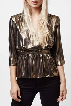 TOPSHOP - Metallic Ballet Wrap Top at Nordstrom Rack. Free Shipping on orders over $100.
