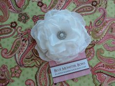 Baby Girl Grace White Flower with Rhinestone by BlueMonsterBows06, $4.00