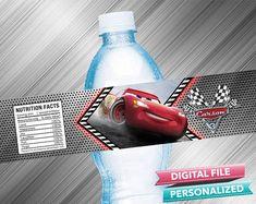 Cars 3 Birthday Water Bottle Label
