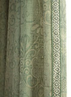 Studio 534 fabric- similar to my green curtains Drapery Designs, Drapery Ideas, Curtain Ideas, Custom Window Treatments, Passementerie, Window Dressings, Window Styles, Curtains With Blinds, Green Curtains