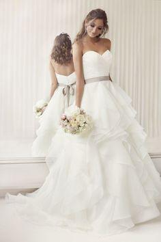 Asymmetric Tiers Chapel Train Ball Gown Organza Wedding Dress - Shedressing.com