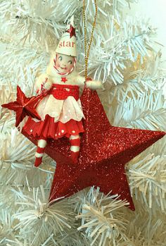 Christmas Girl Red Star Ornament in Spun Cotton by AquaMarineQueen
