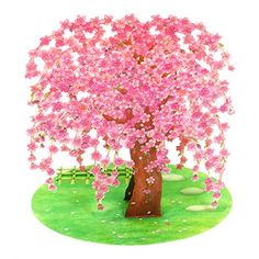 Cherry Blossom w// Gold Folding Screen Pop Up Decorative Greeting Card