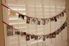 Good idea for hanging the Christmas cards without damaging the walls