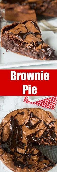 Brownie recipes 95631192076078944 - Gooey Brownie Pie – a gooey chocolate brownie with a crackly top baked into a pie and topped with hot fudge. A delicious and easy dessert for any chocolate lover. Easy Pie Recipes, Easy No Bake Desserts, Köstliche Desserts, Brownie Recipes, Chocolate Desserts, Baking Recipes, Sweet Recipes, Delicious Desserts, Chocolate Chocolate