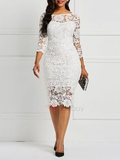Product Name:African Fashion Three-Quarter Sleeve Sexy Floral Women's Lace Dress Category:Women/Women's Clothing/Women Dresses/Lace Dresses Material:L Lace Dress Styles, African Lace Dresses, Floral Lace Dress, Lace Dress With Sleeves, African Fashion Dresses, The Dress, Floral Dresses, White Lace Dresses, Floral Sleeve