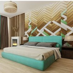 wood wall panel, modern bedroom