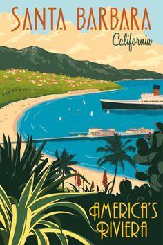 Steve Thomas, See America series, vintage-style illustrated travel posters -- Santa Barbara, California
