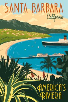 Steve Thomas, See America series, vintage-style illustrated travel posters -- Santa Barbara, California