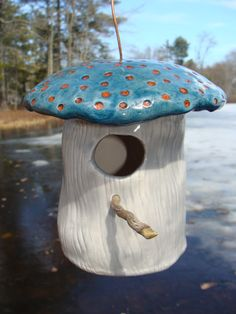 Ceramic Mushroom Birdhouse with Colorfully by TwistedRootsPottery, $45.00