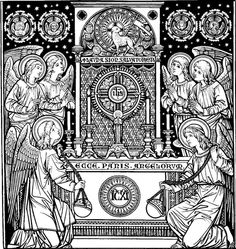 Catholic line art - The Eucharist Catholic Missal, Catholic Art, Roman Catholic, Religious Art, Catholic Traditions, Feast Of Corpus Christi, Woodcut Art, Christ The King, Daughters Of The King