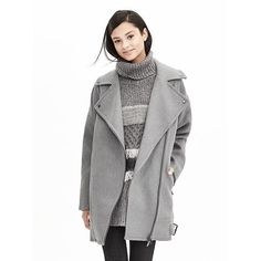 Banana Republic Womens Cotton Moto Cocoon Coat Size XXS Petite -... ($298) ❤ liked on Polyvore featuring outerwear, coats, long sleeve coat, cocoon coat, cotton coat, banana republic coat and petite coats