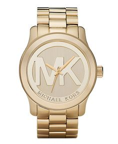 04256b99bb64 Michael Kors Women s Runway Gold Plated Stainless Steel Bracelet Watch 45mm  MK5473 Jewelry   Watches - Watches - Macy s