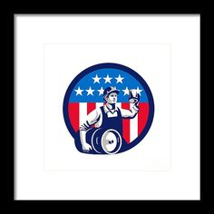 American Builder Beer Keg Flag Circle Retro Framed Print by Aloysius Patrimonio.   Illustration of an American builder construction worker wearing hardhat holding a beer mug toasting while carrying beer keg set inside circle with USA stars and stripes on isolated white background done in retro style. #illustration #AmericanBuilderBeerKeg