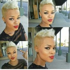 Pixie cut with shaved sides Short Hair Shaved Sides, Edgy Short Hair, Edgy Hair, Short Blonde, Short Hair Cuts, Short Hair Styles, Blonde Pixie, Short Relaxed Hairstyles, Pelo Afro