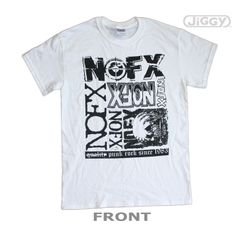 JiGGy.Com - NOFX - Over Logoing T-Shirt NOFX t-shirt that has been way over logo'd. Too many logos. Features every logo the band has used since they formed in the 80's. Banner at the bottom reads: Punk Rock Since 1983, with the word Quality crossed out. Printed on a white 100% cotton t-shirt.