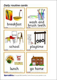 Daily routine picture cards (SB514) - SparkleBox