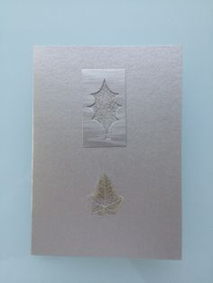 Handmade Christmas Card Silver Holly with Pressed Ivy Leaf £3.00
