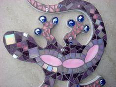 Gecko Lizard Mosaic Garden Ornament, Wall Plaque, Hanging decoration Gecko Lizard Mosaic Garden Ornament Wall Plaque by FunkyMosaicsUK Mosaic Rocks, Mosaic Stepping Stones, Pebble Mosaic, Mosaic Tiles, Mosaic Flower Pots, Mosaic Garden, Garden Ornaments, Glass Ornaments, Ornaments Ideas