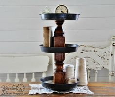 Tiered Metal Stand - Created from Antique Baking Pans and Antique Wooden Spindle - Repurposed and Upcycled Industrial Style Decor Stand