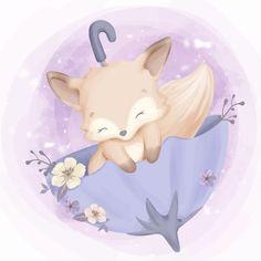 Cute baby fox sleep on umbrella Premium Vector Cute Girl Drawing, Cute Drawings, Cute Images, Cute Pictures, Baby Animals, Cute Animals, Cute Fox, Cute Cartoon Wallpapers, Woodland Creatures