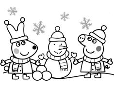 Peppa and Rebecca are Making Snowman coloring page from Peppa Pig category. Select from 24342 printable crafts of cartoons, nature, animals, Bible and many more.