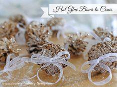 Glue Bows to Pine Cones
