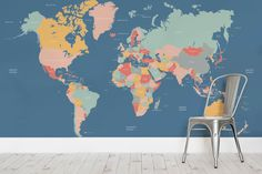 Rich navy blue seas and softly colored countries make up this fantastic Navigator Kids Map wallpaper; perfect for a bedroom or playroom. Both informative and beautiful, the harmonious colors work equally well in either a boys or a girls room. Political country borders are marked, and countries are clearly labelled in this up-to-date world map...  Read more »