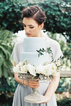 Charming Old World Wedding | Light Blue wedding cake | itakeyou.co.uk