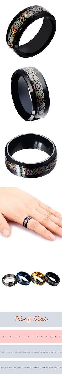 8mm Gold//Silver//Black//Blue Dragon Pattern Beveled Edges Celtic Wedding Rings 6-13