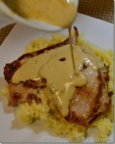 Pan Seared Pork Cutlets with Mustard Cream Gravy