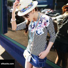 Womens Dot Round Collar Long Sleeve Tshirt